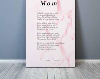 Mom Poem, Gift for Mom, Mother's Day, Wall Art, Mothers Day Gifts, Gift for Mother's Day, Wall Art, Wall Decor, Poetry Gift, Poem Mom, Mom,