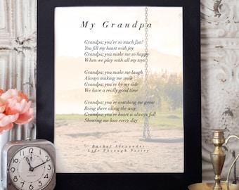 Custom Gift for Grandpa, Grandpa Birthday Gift, Poem Gift, Gift from Grandchildren, Gift Grandfather, Grandpa Gift, Birthday Gift Grandpa,