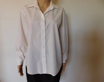 Vintage Yves St Claire white and black blouse