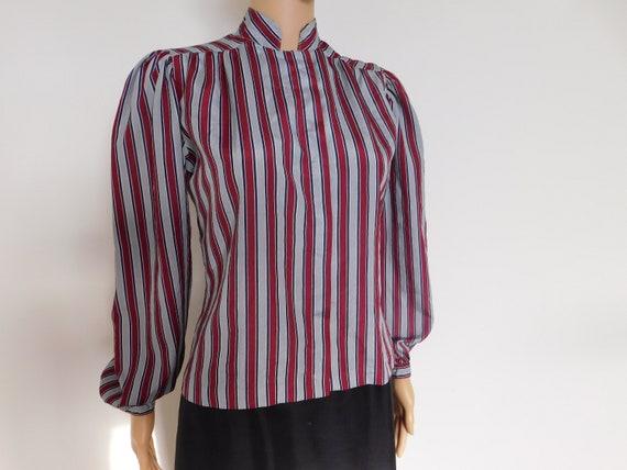 Vintage striped secretary-blouse-burgundy, grey &
