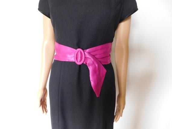 Wide silk cinch belt-fuchsia-hot pink-magenta-3 i… - image 1