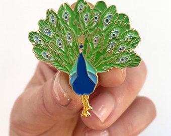 peacocks FULL SET of four Peacock pins peacock designs hat pins lapel pins animal pins kawaii peacock pins enamel pins