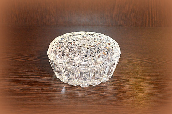 wedding ring or caviar vase box sugar from USSR 1980 Russian crystal glass round casket for Jewelry