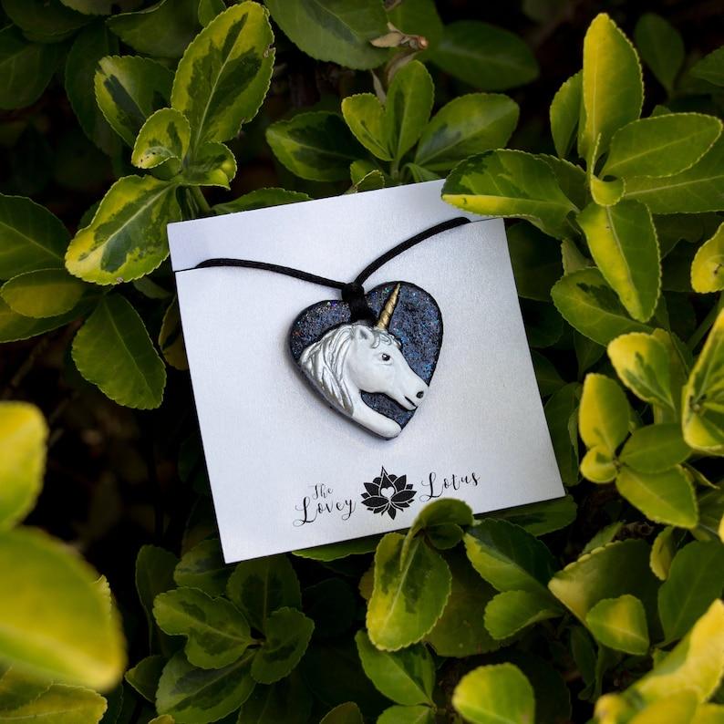 Handmade Glitter Heart Unicorn Lovey Pendant with 18K Gold image 0