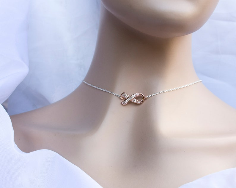 Rose gold Awareness Ribbon Necklace on 925 Silver  breast image 0