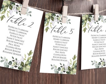 Eucalyptus Wedding seating chart template Editable 4x6 5x7 cards TEMPLETT Printable greenery table plan sign Instant download