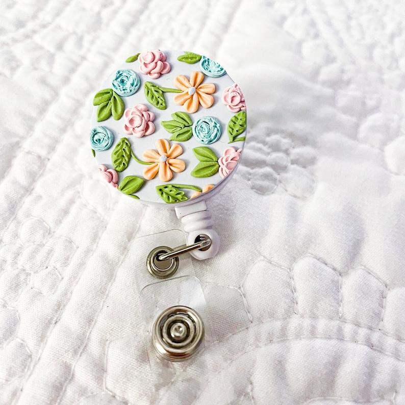 Floral Badge ReelPolymer Clay Teacher Badge ReelCute Clay Badge ReelRetractable Badge ReelTeacher AccessoriesBadge ReelsGift Ideas