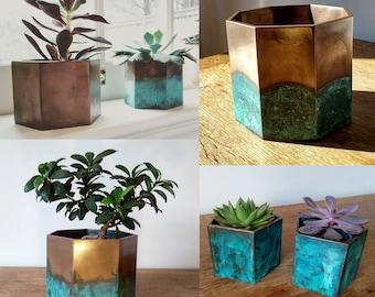 Rustic Bronze Planters - Aged Bronze Plant Pots - Unique Metal Planters