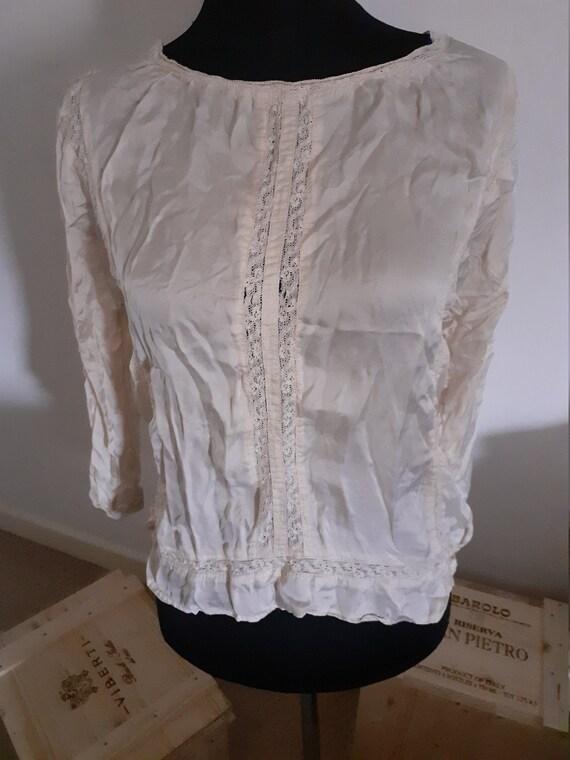cream silk victorian style blouse
