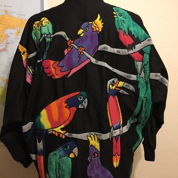 Silkscapes Parrots Jacket Black Silk Embroidered P