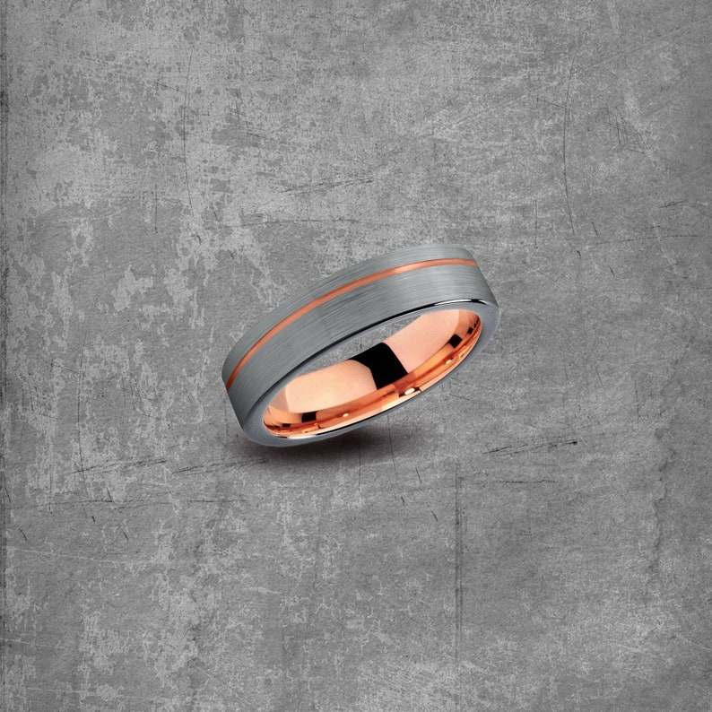 Classic Wedding Band Rose Gold Band|Mens Wedding Band Silver Wedding Ring|18k Rose Gold Tungsten Ring Engagement Rose Gold Tungsten Ring