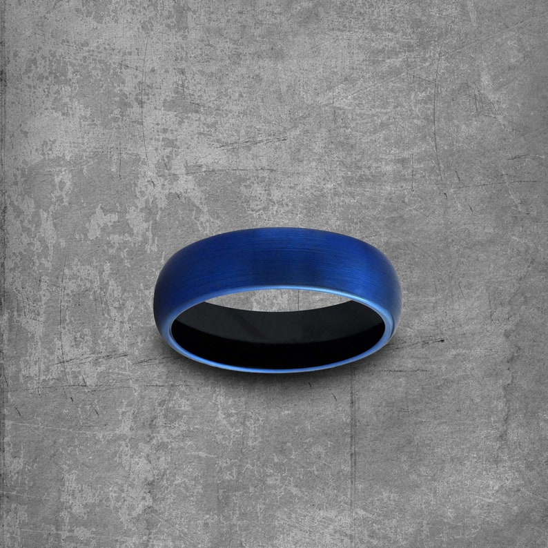 Promise Ring|Engagement Mens Wedding Band Rings For Women Name Ring Personalized Stacking Rings Modern Blue Wedding Ring Tungsten Band