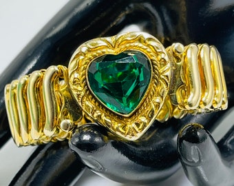 Sweetheart Expansion Bracelet Victorian Revival Emerald Green Center Heart Gold Filled Signed Leading Lady Made In The USA May Birth Stone