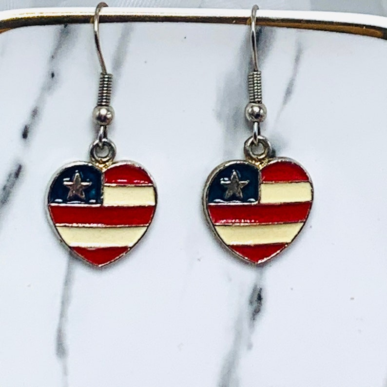 Patriotic Heart Heart Earrings Red White Blue Earrings Drop Dangle Silver Tone Enamels Flag Themed Jewelry USA Fourth Of July Themed
