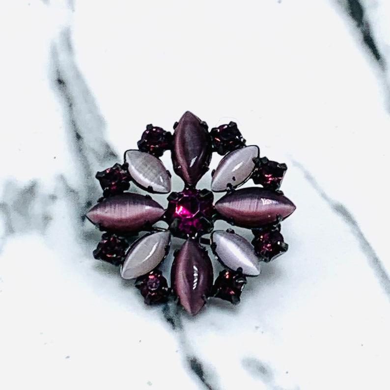 Purple Cats Eye Rhinestone Flower Brooch Gun Metal Pronged