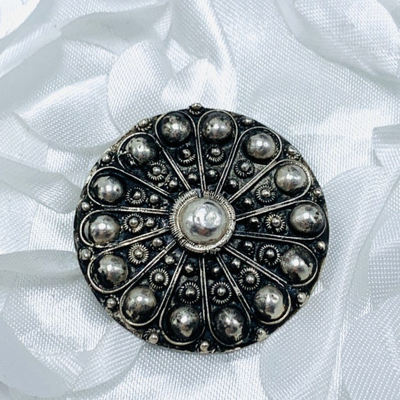 Antique French Deco Sterling and Paste Intricate Round Brooch