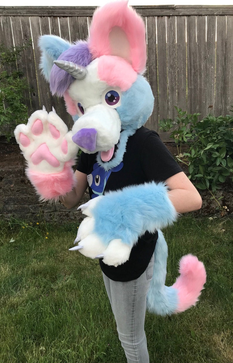 2f256ca814ade Fursuit Mini Partial Pastel Puppicorn Head + Tail + Puffy Paws Furry Canine  Puppy + Unicorn Custom Fur Suit