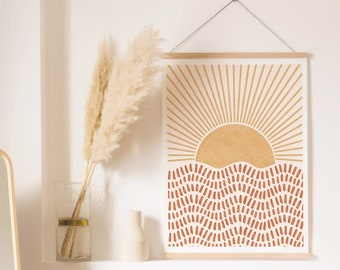 Boho Rising Sun Art Print Printable Wall Art Digital Print Neutral Wall Art Boho Decor Abstract Art Print Instant Download Minimalist Print