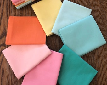 Bright Pastel Solid Fat Quarter Bundle (to Coordinate with American Road Trip)