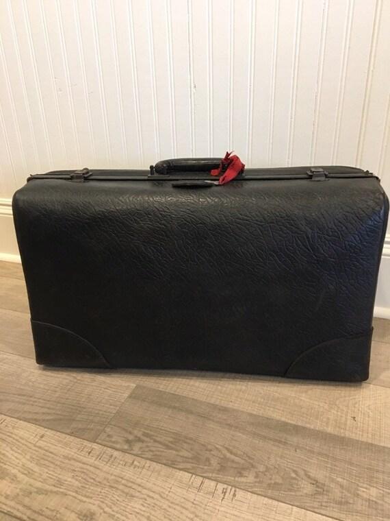 1930s black leather suitcase