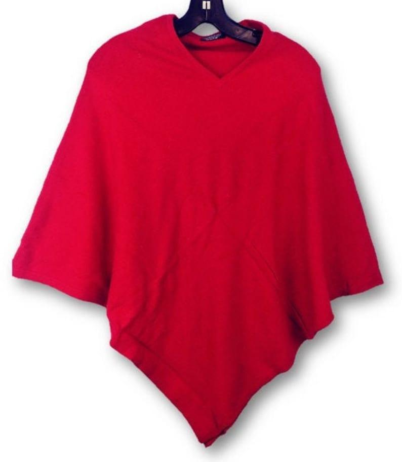 Pashmina Cashmere Poncho Red