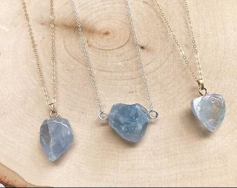 Celestite stone necklace reiki infused handmade