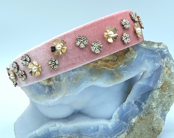 Pink Velvet Headband | Flower Headpiece | Velvet Hairband | Formal Headband | Flower Crystal Headband | Swarovski Crystal Headband