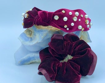 Top Knot Headband, Velvet Headband, Headband Set, Crystal Headband, Valentine's Headband, Velvet Scrunchie