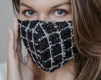 Tweed Mask | Black Face Mask | Gingham Checkered Mask | Luxury Face Mask