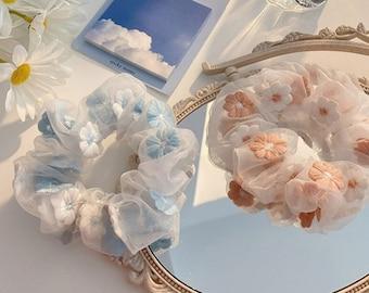 Organza Scrunchies, Bohemian Scrunchies, Mesh Scrunchies, Tulle Scrunchies, See Through Scrunchies, Embroidered Scrunchies