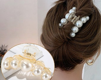 Large Hair Claw Clip | Pearl Hair Claw, Pearl Hair Clip | Big Pearl Jaw Hair Clip | Trendy Hair Clip | Gifts For Her