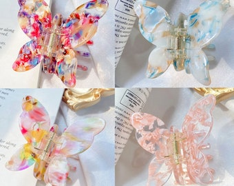 Butterfly Clip, Marble Butterfly Clip, Tortoise Hair Claw, Acetate Hair Clip, Hair Accessories for Her, Acrylic Hair Claw, Perfect Gift