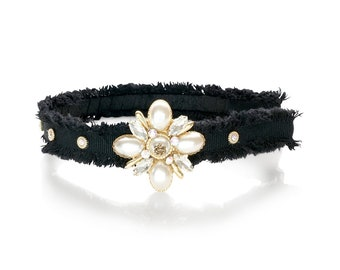 Tweed Headband | Pearl Headband | Black Headband | Crystal Headpiece | Formal Headband | Flower Headband | Pearl Headpiece