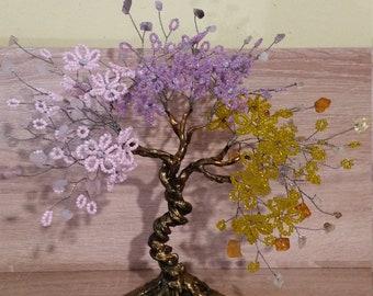 Gemstone Tree of Life,Rose Quartz,Amethyst,Citrine Bonsai,Feng Shui Tree of Love and Luck