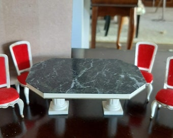 Ideal Toy Co. Petite Princess Fantasy Furniture Dining Room Table and 4 Dining Chairs