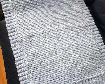 Blanket   Baby blanket   cuddly   handknit   slip-garter   blue