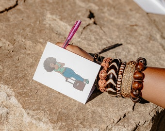 Black Woman Greeting Cards, Folded Notecards, Stationery Note Cards, Just Because Cards, JW Gifts, Unique Cards, Greeting Cards