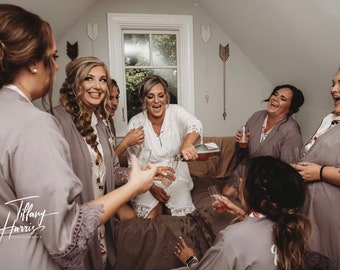 Bridesmaid Robes | Cotton Lace Robe | Bridesmaid Robes  Set of 4 5 6 7 8 9 | Bridal Party Robes | Wedding Robes