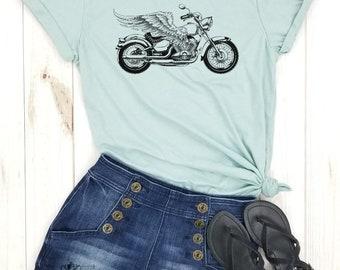 Indian motorcycle biker shirt wheelies motor bike american motorcycle motocross biker tee Motorcycle Wings FRONT view