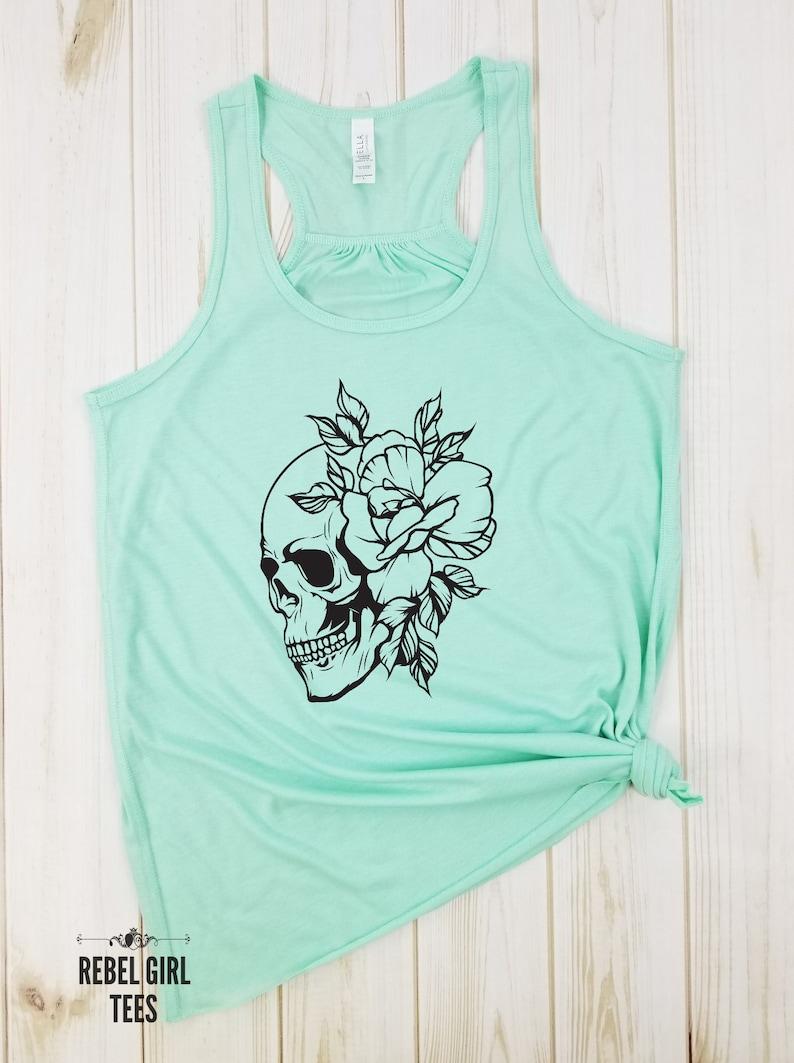 Floral Skull  Skull Print Womens Sugar Skull Art Tshirt Gift image 0
