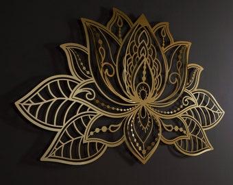 3D Mandala Large Metal Wall Art, Lotus Flower Mandala Wall Art, Metal Wall Decor, Gold Wall Decor, Bedroom Wall Decor, Living Room Wall Art