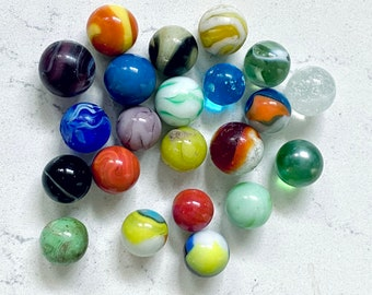 Vintage Vitro Agate ALL REDS Shooter  78  Glass Marbles  Collectible  Toys  Decorative  Game Marbles  Large Marbles  Lot #515