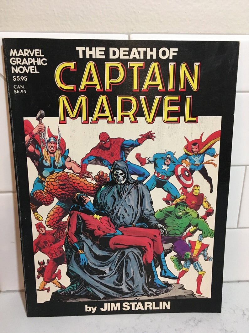 1982 7th printing the death of captain marvel graphic novel in near mint  condition
