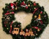 Handmade Wreath, Wooden Ornaments, Christmas Train, Wooden Train, Kitsch Wreat, Christmas Putz, Santa Train, Rocking Horse, Wooden Christmas