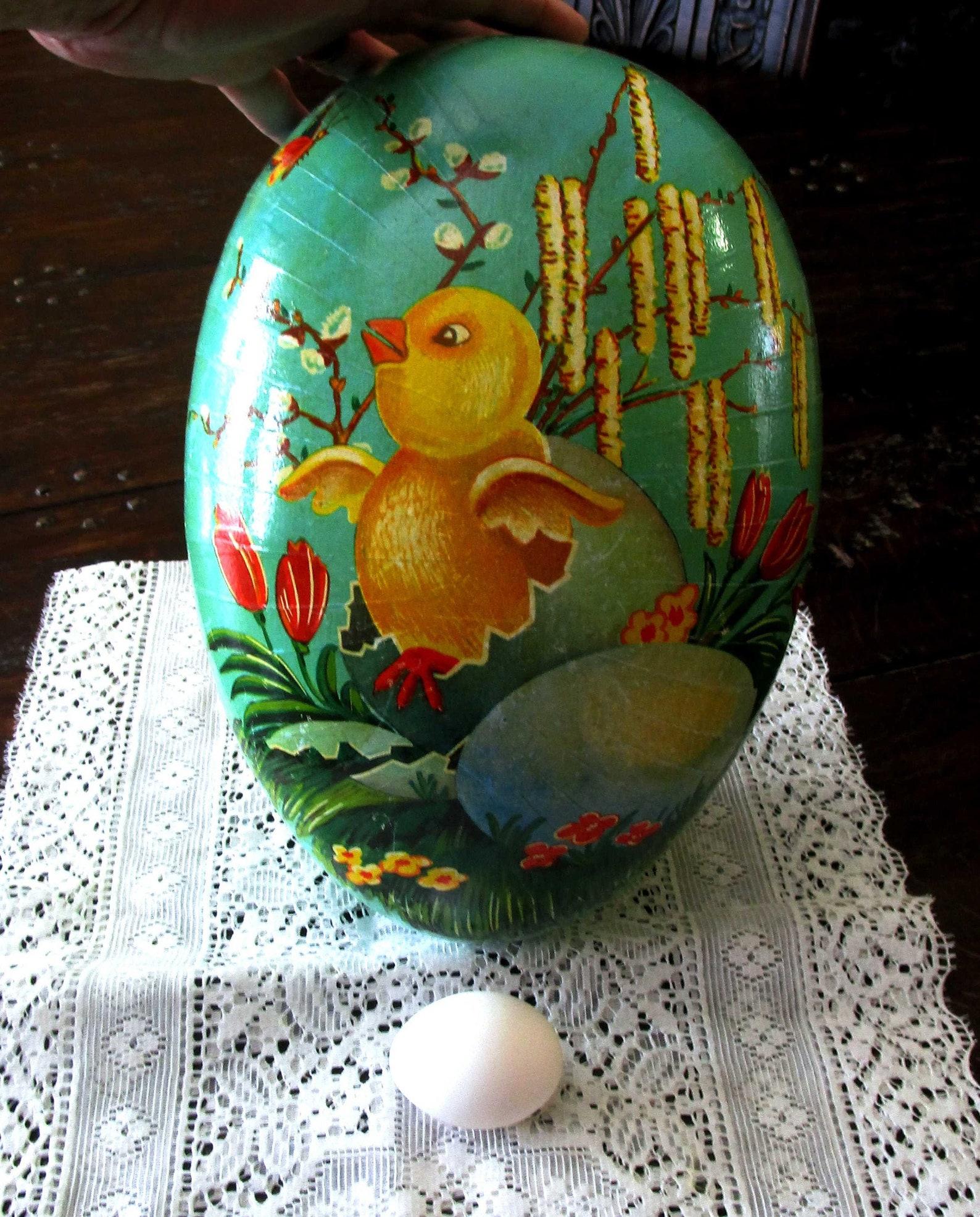 LARGE, Paper Mache Egg, Easter Egg, Vintage Easter, German Egg