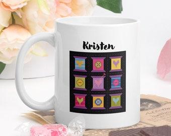 Cross Stitch Mug, Personalized Ceramic Mug, Crafter Mug, Made to Order Mug, Coffee Mug Name, Designer Mug, Stitchers Gifts, Quilter Cup