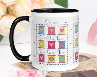Quilt Mug, Cross Stitch Mug, One of a Kind Mug, Personalized Coffee Mug for Nana, Seamstress Gift, Quote Cup, Crafty Mug, Sewers Gift
