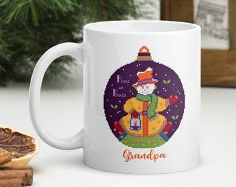 Personalized Christmas Mug, Cross Stitch Mug, Holiday Mug, Snowman Coffee Mug, Christmas Tea Mug, Xmas Coffee Mug, Hot Cocoa Mug, Custom Mug