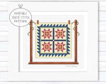 Cross Stitch Block Quilt Pattern, Crossstitch Charts, Cross Stitch Farmhouse, XStitch Pattern, Geometric Cross Stitch, Beginner Cross Stitch
