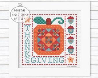 Thanksgiving Cross Stitch Pattern Chart, Pumpkin Crossstitch, Counted Cross Stitch Autumn, Acorn Cross Stitch, Quilt Block Cross Stitch PDF